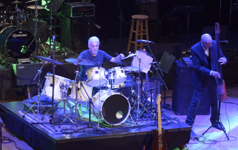 Steve Gadd with Tony Levin on stage Sunday night.