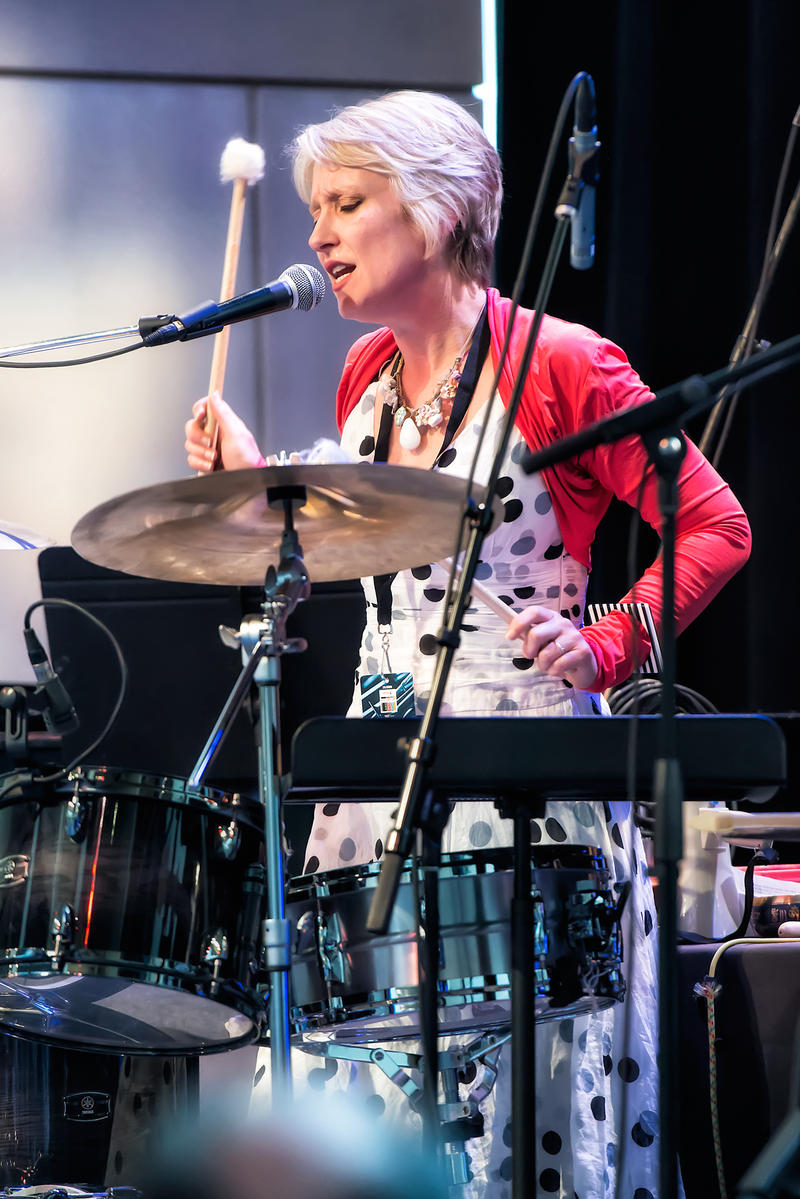 Gwyneth Herbert plays the drums during her performance at Max of Eastman Place