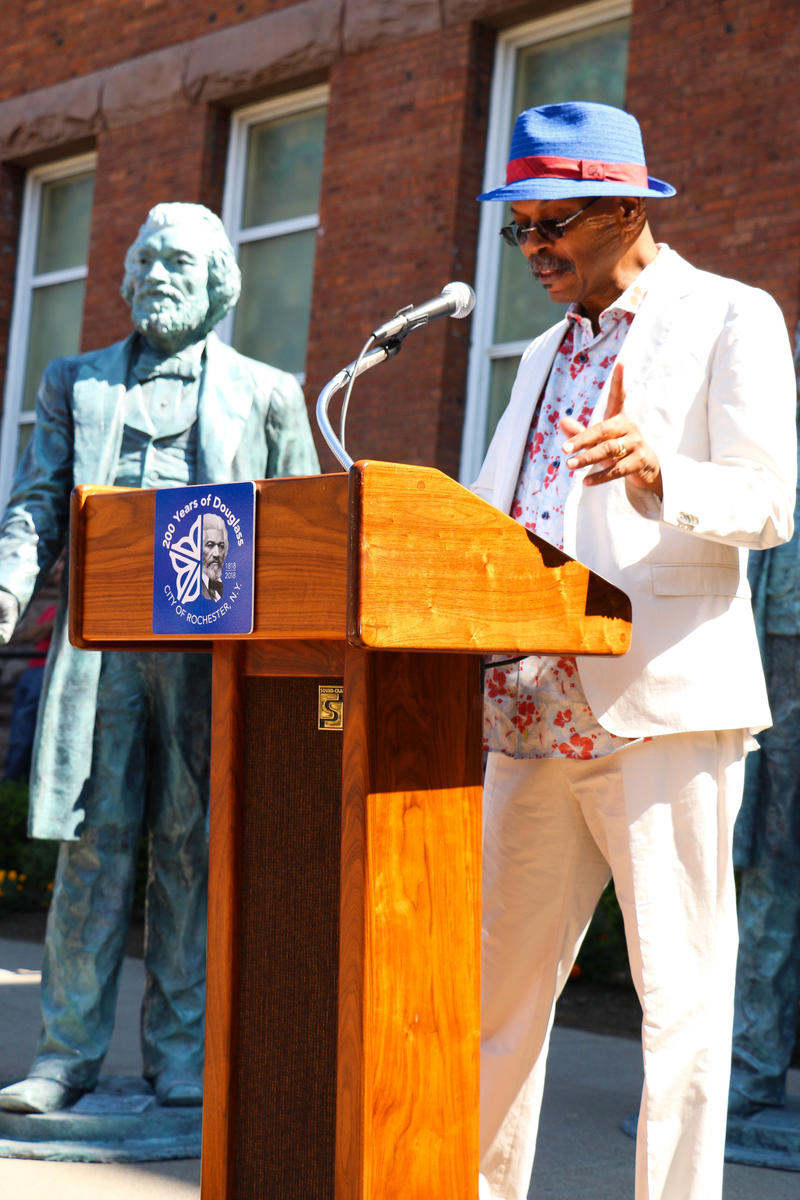 Carvin Eison says there will be a total of 13 statues placed around key points of the city where Frederick Douglass made a difference or influenced society.