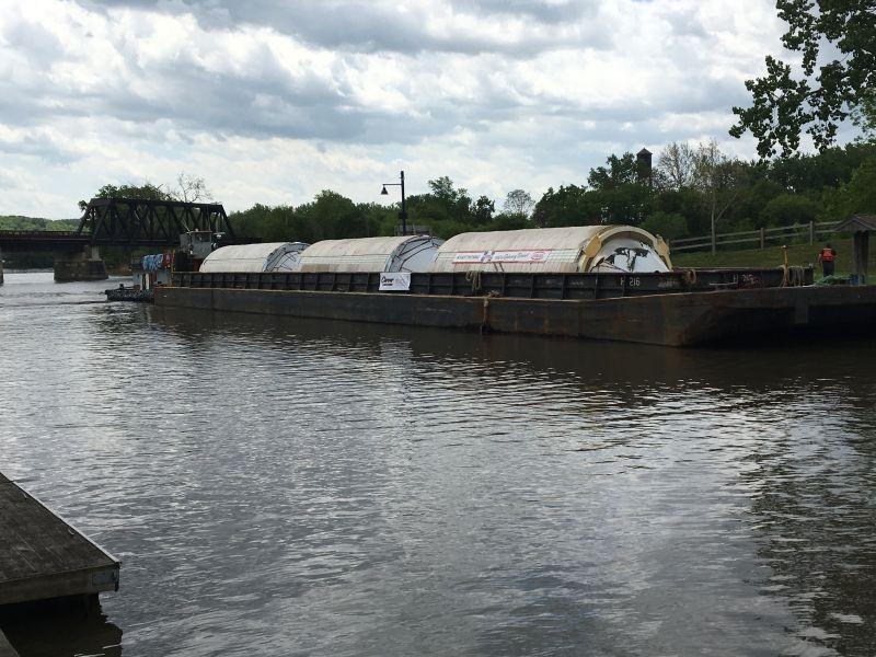 Big beer tanks being hauled to NY brewery via Erie Canal