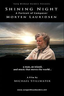 Morten Lauridsen - film poster with the composer with sunrise (or sunset) behind him
