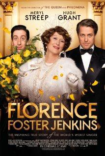 Florence Foster Jenkins movie poster - Meryl Streep in elegant white dress and tiara, Simon Helberg behind flowers on left and Hugh Grant in tux on right