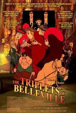 The Triplets of Belleville Movie Poster-  animated singing ladies, animated dog, cityscape in background