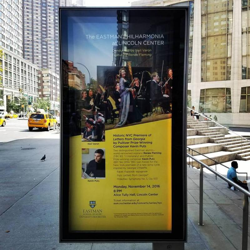 Poster for Eastman Philharmonia Concert outside Lincoln Center in New York City