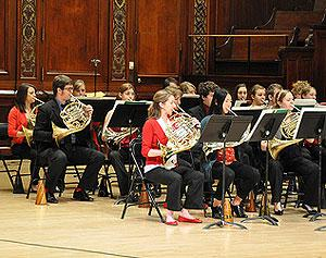 Eastman Horn Choir on stage at Hochstein