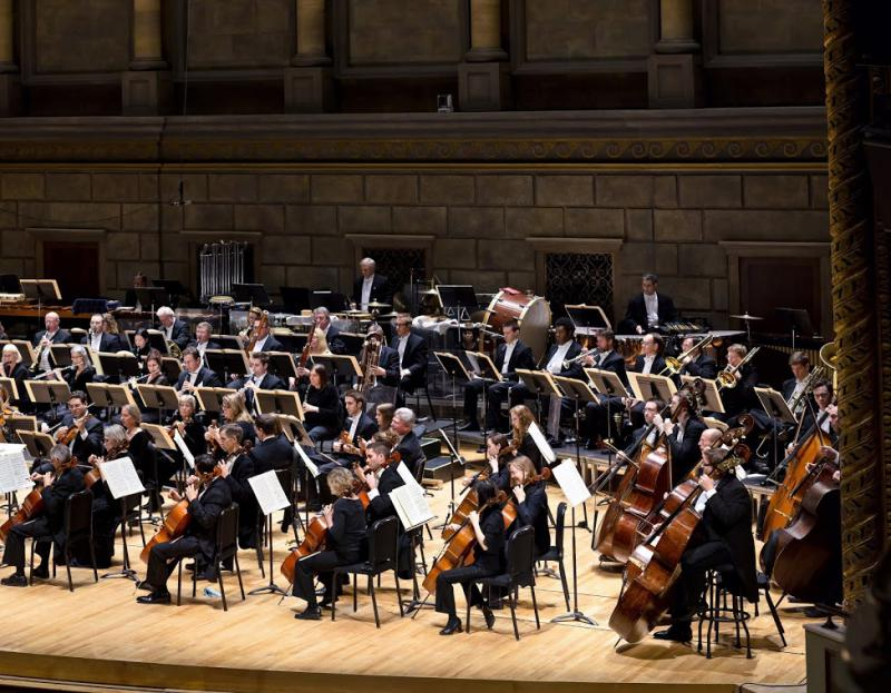 Rochester Philharmonic Orchestra on stage at Hochstein