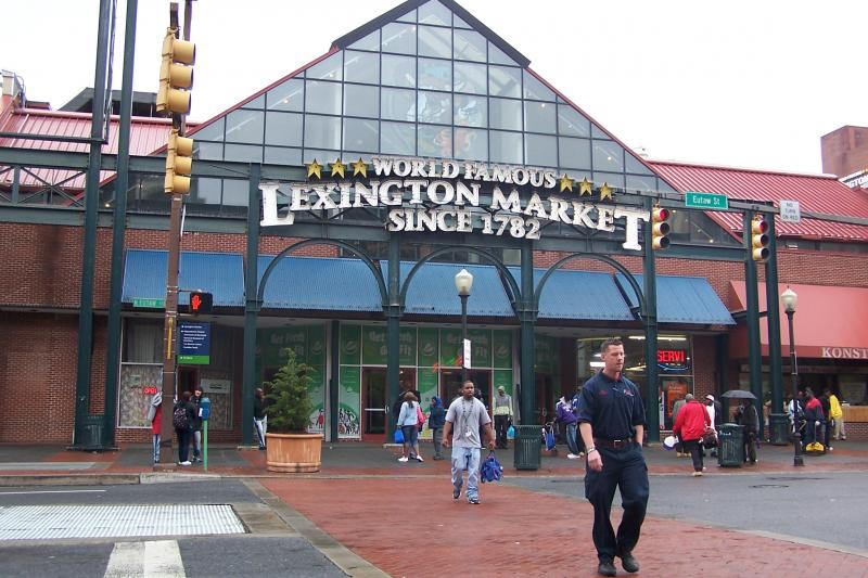 The market's exterior, at W. Lexington and N. Eutaw Streets.