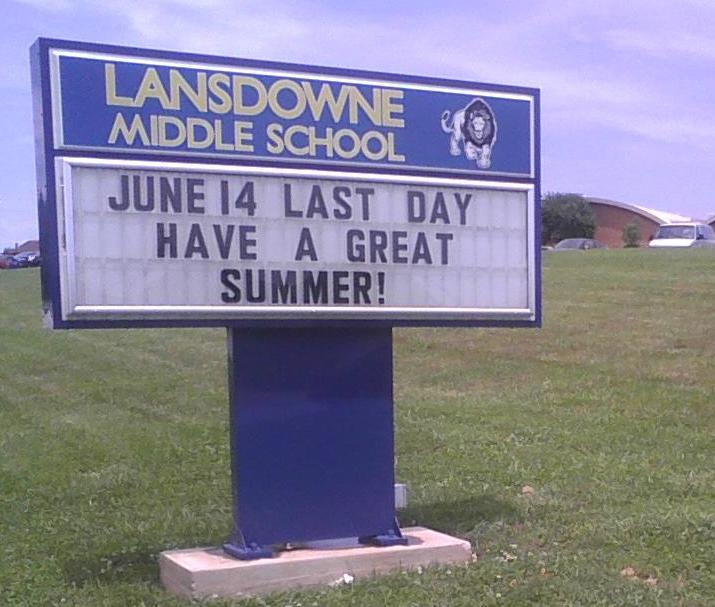 Farewell greeting outside Lansdowne Middle School in Baltimore County.