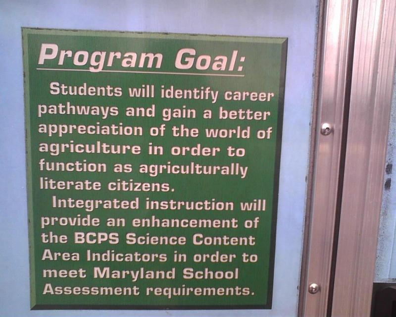 The goals of Baltimore County's Mobile Agriculture Science Laboratory are mounted on the door to the hands-on mobile classroom. The science mobile traveled to 17 county schools and ended the year at Ridgley Middle School in Lutherville.
