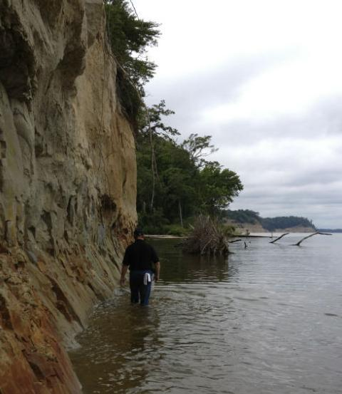 Jon Bachman walking the cliffs at Stratford Hall.