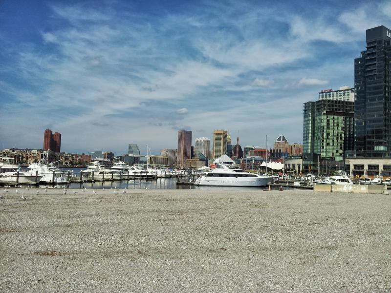 The view of the Inner Harbor from Harbor Point.  The gravel is the cap that was built in 1999 to prevent exposure to contaminents from the former Allied Chemical plant that processed chromium for over a century until 1985.