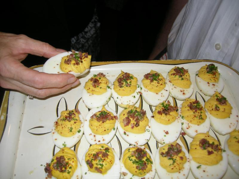 Servers passed hors d'oeuvres during the pre-movie charity reception benefitting the Pratt Contemporaries program at the Enoch Pratt Free Library.