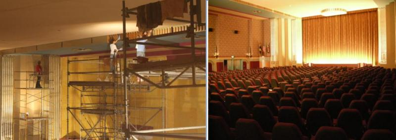 Before and after construction in the main theatre.