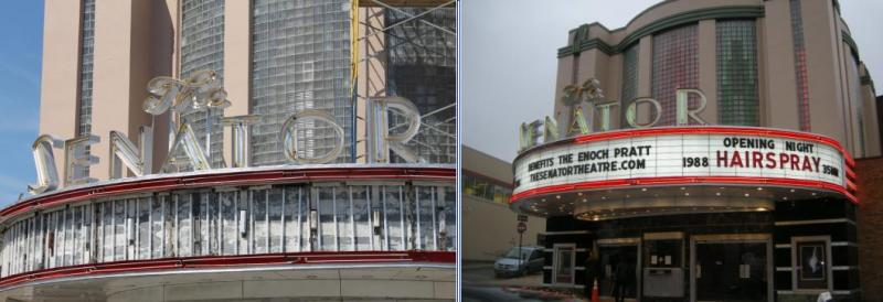 Senator Theatre on York Road during construction in July and on opening night.
