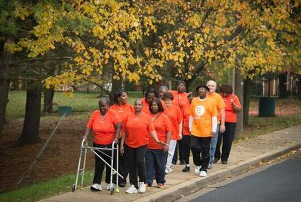 Walkers at the Morris H. Blum Senior Apartments.