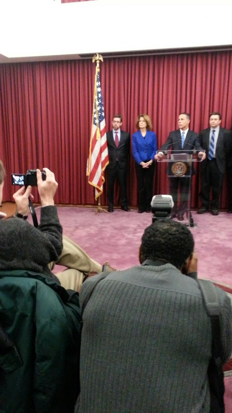 Lt. Governor Anthony Brown (at podium) at a press conference today in Baltimore.