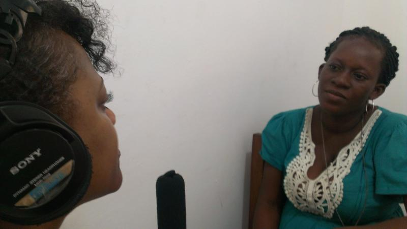 Letecia Brenyah, a computer director and teacher at the private Ahantaman senior high school for girls, being interview by WYPR education reporter Gwendolyn Glenn in Sekondi, Ghana.