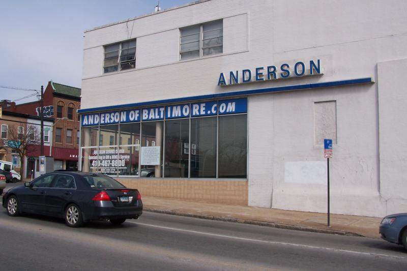 Anderson Automotive currently occupies part of the site. This building is on the Old Goucher side of Howard Street.