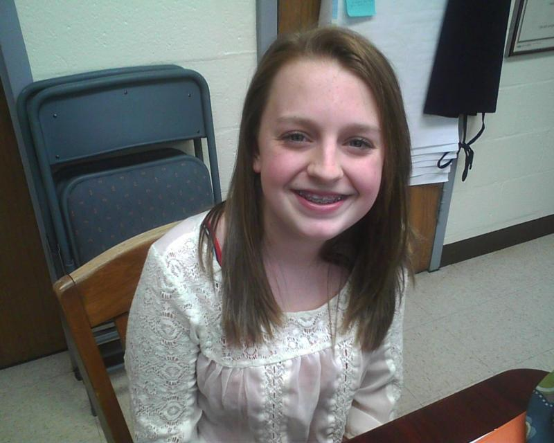 Giulia Parsons, an eighth grader at Ridgely Middle, won an iPad for coming up with the 'Loving is Louder' slogan.