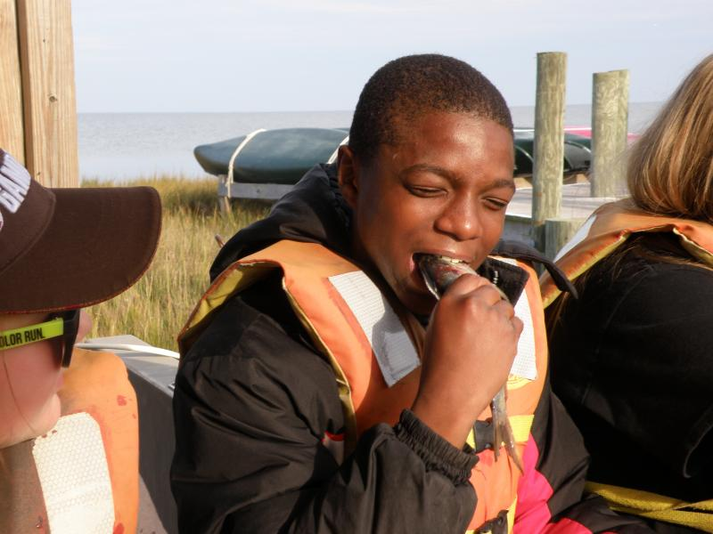 "Marquis Smith of Virginia baits a crab pot by biting the head off a dead menhaden fish, locally known as ""bunker,"" during a class trip to Fox Island, just south of the Maryland border in the Chesapeake Bay."