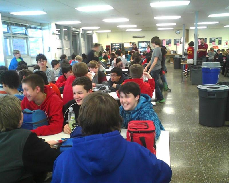Students in Ridgely Middle School's cafeteria wear red to symbolize Baltimore County schools' anti-bullying campaign's theme of the day, respect.