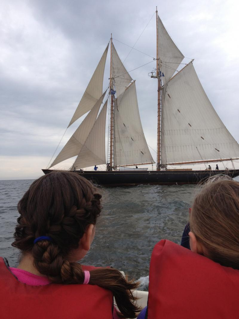 Students got up close to the tall ship Virginia on this trip.