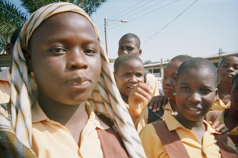 Zainbu Bunyawin, a 13-year-old student at Conde Estate Five School in Accra, Ghana. She says attending church service and praying at the beginning of each school day is compulsory.