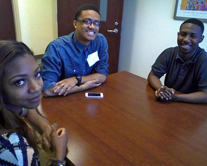 2014 Cristo Rey graduates discuss their college plans. Left, Berneishia Ellis, will attend Towson University; middle, Reggie Baylor, will attend Towson University; and, right, Tony Hawks will attend Wesleyan University this fall.