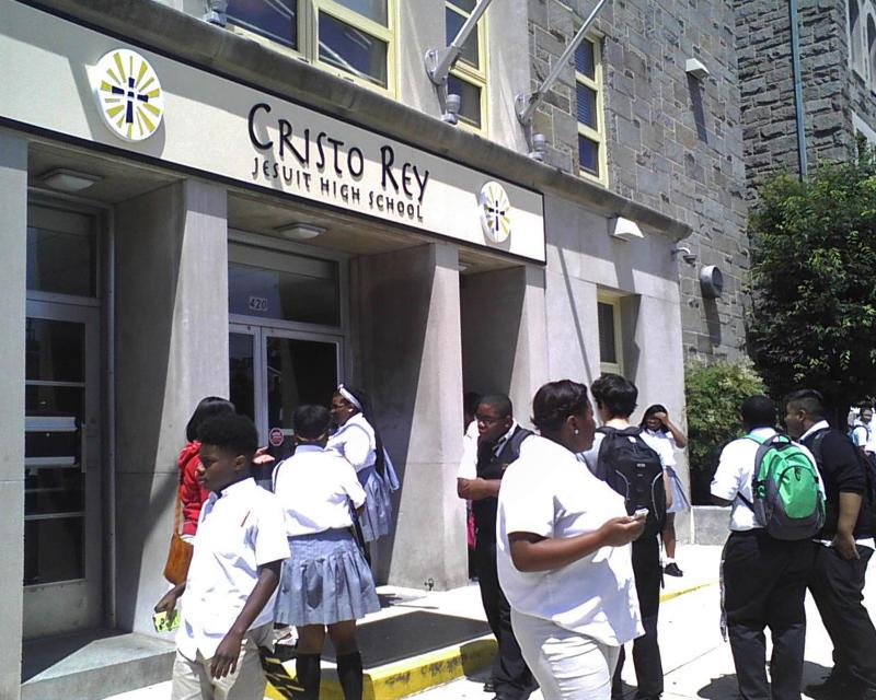 Students at East Baltimore's Cristo Rey Jesuit High School take a break from final exams.