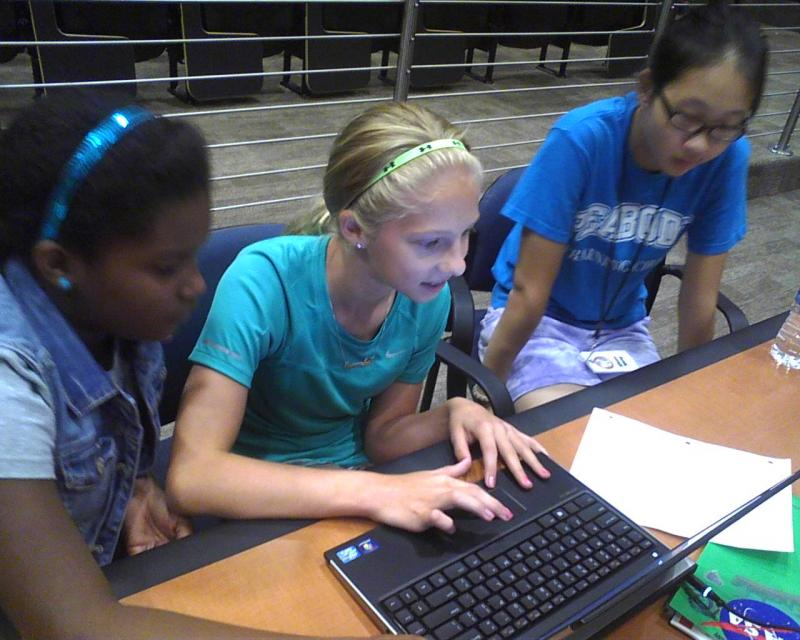 (l-r) Amari Dupree and Samantha Wilt of Baltimore and Eileen Wang of Clarksville work on a space project at John Hopkins Applied Physics Lab in Laurel, Md. They are participants in the state's summer camp for gifted and talented students.