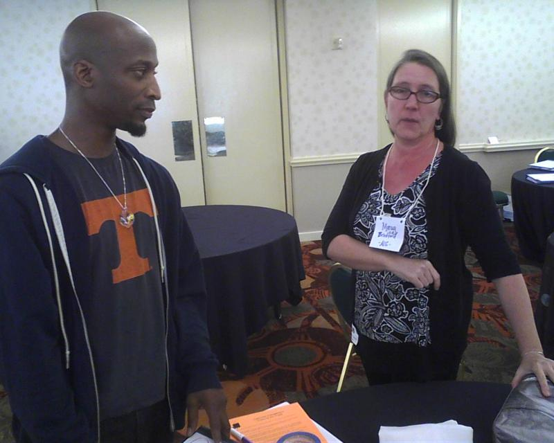 Pianist/composer Kevin Gift (left) and Baltimore city visual arts teacher Morag Bradford discuss ways to blend new arts standards with the Common Core.