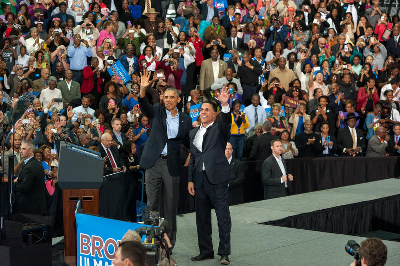 President Barack Obama joined Lt. Gov. Anthony Brown on stage at a get out the vote rally in Prince George's County.
