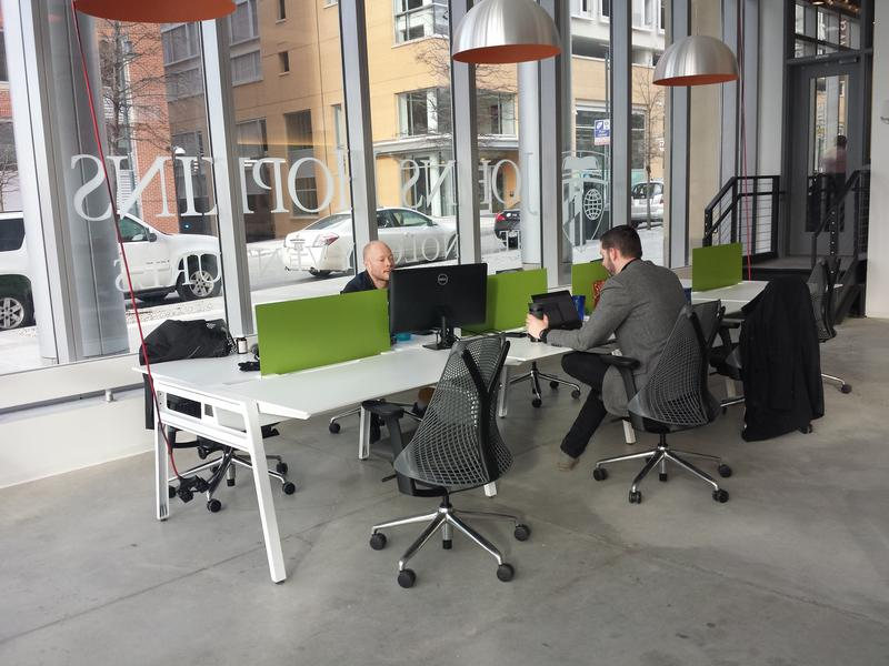 Fast Forward East has 28 bullpen desks, six dedicated offices and two shared labs.