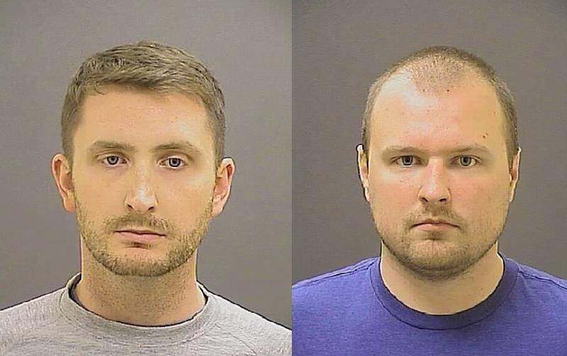 Police Officer Garrett Miller (right) testified that he alone handcuffed Freddie Gray and that his fellow officer Edward Nero did not touch him until Gray complained about not being able to breathe.