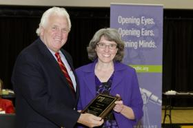 Christine Pritt with Senate President Michael V. Miller, Jr. at the MHD competition.