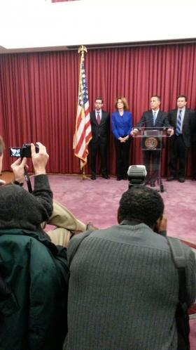 Lt. Governor Anthony Brown (at podium) at a press conference in Baltimore.