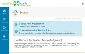 Maryland Health Connection Screenshot