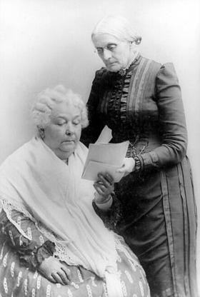 Elizabeth Cady Stanton, seated, with Susan B. Anthony.