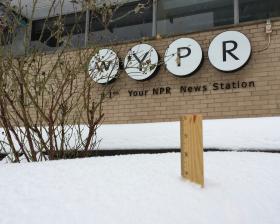 Snow accumulates in front of WYPR's studios.