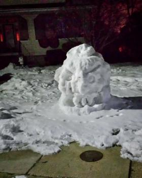 A snow monster, spotted along Echodale Avenue in Baltimore.