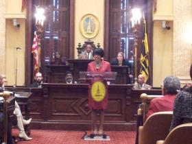 Baltimore Mayor Stephanie Rawlings-Blake focused the majority of her fourth State of the City speech on crime while also touting successes of the last year.