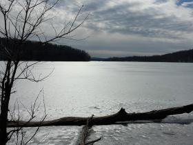 A thick sheet of ice covers Loch Raven Reservoir. The start of boating season at the Prettyboy and Liberty Reservoirs has been delayed because of ice.