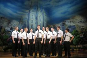 "The touring cast of ""The Book of Mormon."""
