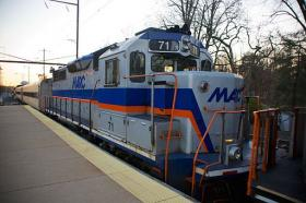 The MARC train at the Odenton station.