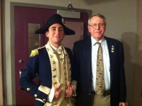 Ben Goldman, who portrays the Marquis de Lafayette, and Alan Hoffman, who translated a diary of the Marquis's farewell tour throughout the US.