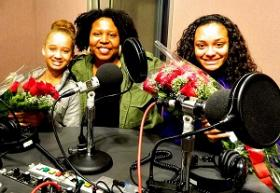 Zayden Bates, Angel Kristi Williams, and Brianna Cormier at the WYPR studios