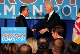 Lt. Gov. Anthony Brown (l) with former President Bill Clinton. Clinton appeared at a fundraiser for Brown Tuesday that brought in more than $1 million.