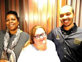 Storytellers Jo Ann McKinney, Vanessa Johnson,and Roderick Howard II, at the WYPR studios