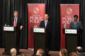 (l-r) State Sen. Brian Frosh, Del. Jon Cardin, and Del. Aisha Braveboy at a debate for the Democratic candidates for Attorney General on May 31.