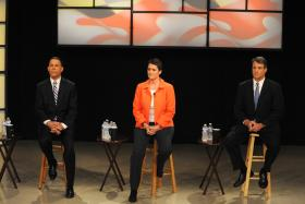 Lieutenant Governor Anthony Brown, Montgomery County Delegate Heather Mizeur, and state Attorney General Doug Gansler. At the last televised debate between the Democratic gubernatorial hopefuls.